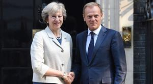 Theresa May and European Council president Donald Tusk (David Mirzoeff/PA)