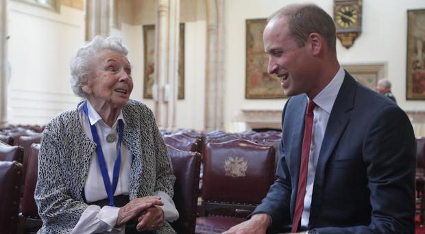 The Duke of Cambridge told Iris Orrell, 98, that his wide has been trying ginger to remedy her morning sickness (Yui Mok/PA)
