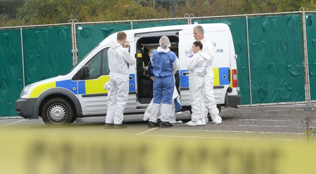 Police forensics at the scene on the A369 in Portbury near Bristol (Ben Birchall/PA)