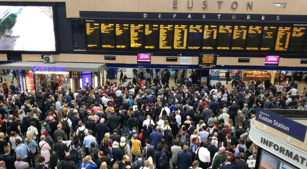 Passengers at London Euston are facing major delays after a person was struck by a train near Milton Keynes (Karl Dixon/Twitter/PA)