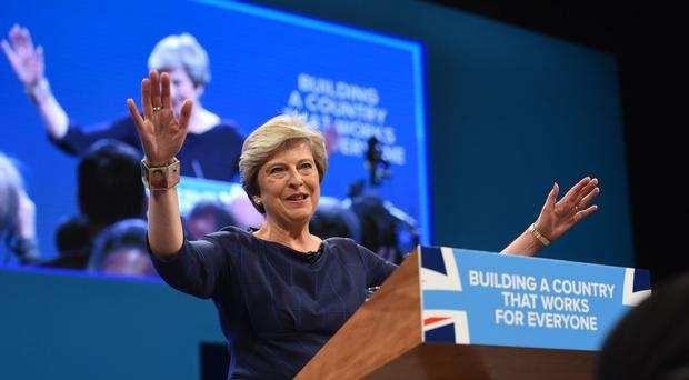 Prime Minister Theresa May arrives to deliver her keynote speech at the Conservative Party Conference at the Manchester Central Convention Complex in Manchester (Joe Giddens/PA)