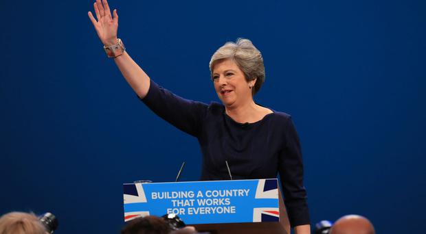 Prime Minister Theresa May delivers her keynote speech at the Conservative Party Conference in Manchester (Peter Byrne/PA)