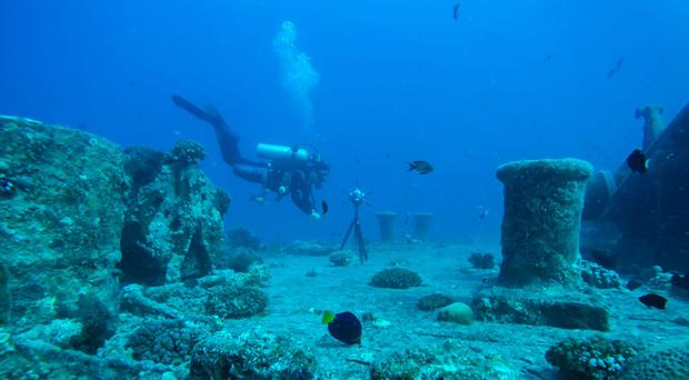 A 360 degree video camera is being used on the bow of the SS Thistlegorm (University of Nottingham/PA)