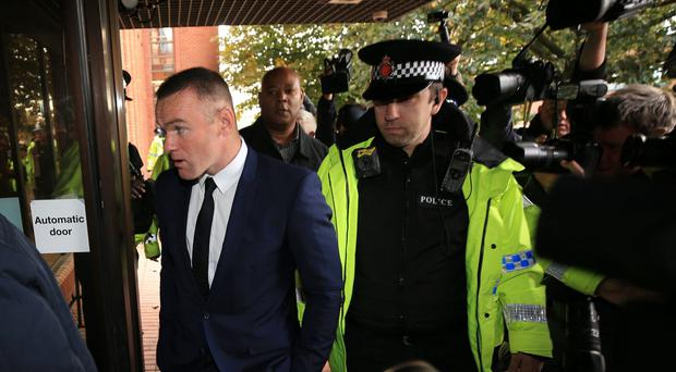 Wayne Rooney arriving at Stockport Magistrates' Court