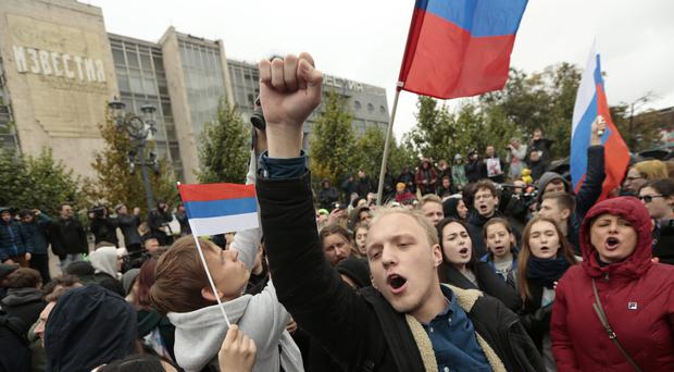 A rally in favour of opposition leader Alexei Navalny in Moscow (Ivan Sekretarev/AP)