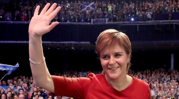 First Minister Nicola Sturgeon after delivering her keynote speech (Jane Barlow/PA)