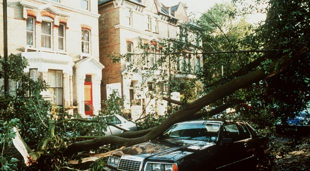 Damage in London after the Great Storm in October 1987 (PA)