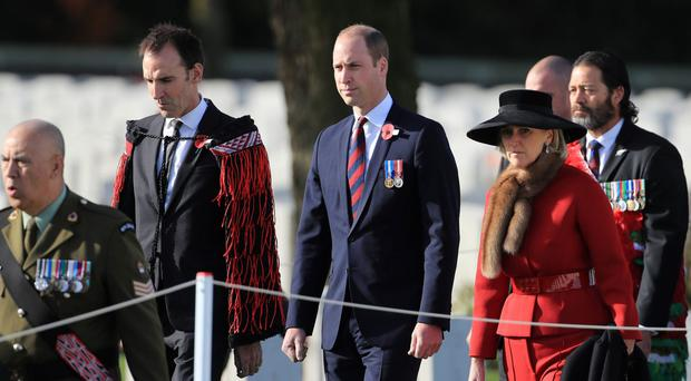 The Duke of Cambridge at the New Zealand commemoration for the Battle of Passchendaele in Belgium (Gareth Fuller/PA)