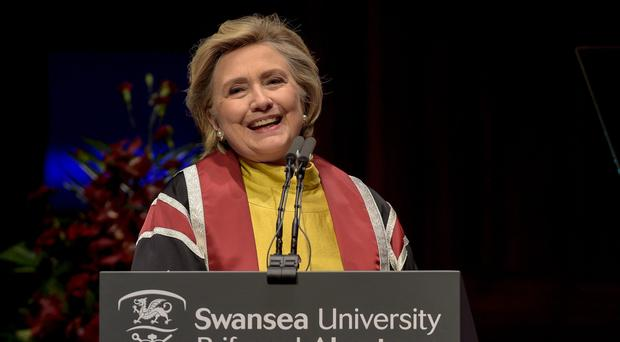 Hillary Clinton speaks as she receives an honorary doctorate at Swansea University (Ben Birchall/PA)