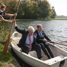 Boris Johnson took an impromptu boat trip with the Czech Republic's deputy foreign minister Ivo Sramek despite desperate pleas from his wife to stay on dry land for fear they would be drowned (Daniel Leal-Olivas/PA)