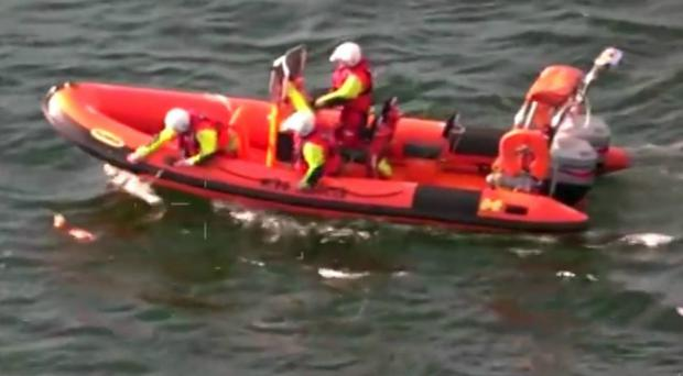 A dog that was being swept out to sea has been rescued after being spotted by a coastguard helicopter in training (Maritime and Coastguard Agency/PA)