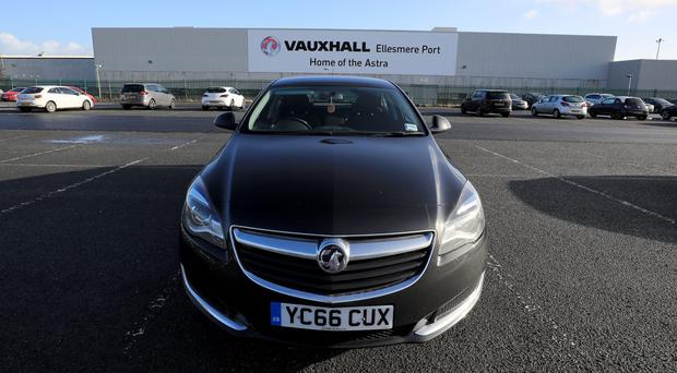 A Vauxhall Astra parked outside the Vauxhall plant in Ellesmere Port, Cheshire (Peter Byrne/PA)