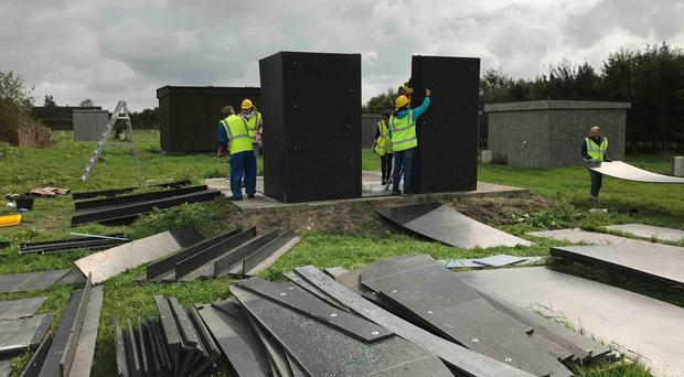 Scientists put together one of the recyclable plastic-based shelters (University of Bath/PA)