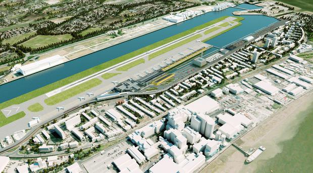 An artist's impression of seven new aircraft stands and a parallel taxiway at London City Airport (London City Airport/PA)