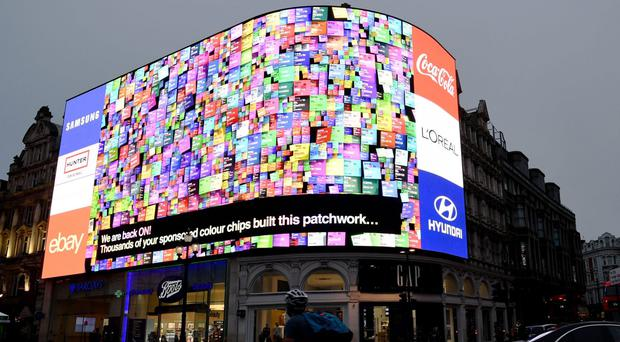 The new ad screens at Piccadilly Circus have been switched on (Stefan Rousseau/PA)