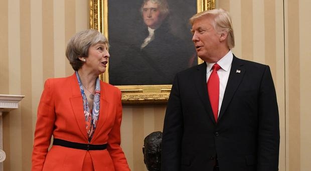 Theresa May with Donald Trump at the White House (Stefan Rousseau/PA)