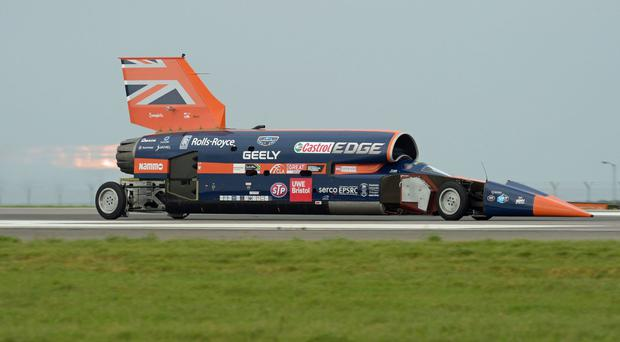 The Bloodhound racing car has been driven in public for the first time (Ben Birchall/PA)