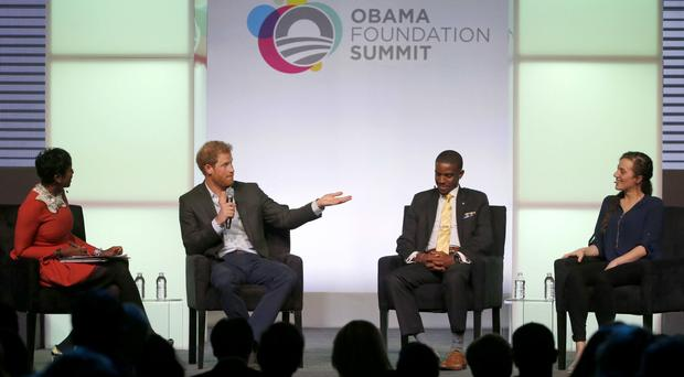 Prince Harry at the Obama Foundation Summit in Chicago (Charles Rex Arbogast/AP)