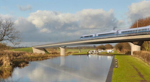 Artist's impression of the the Birmingham and Fazeley viaduct (HS2/PA)
