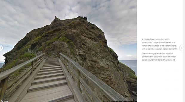 Tintagel Castle in Cornwall captured on a Google Street View camera (Google/PA)