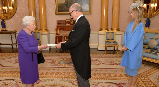 The Queen meets Woody Johnson, the US Ambassador to the UK (John Stillwell/PA)