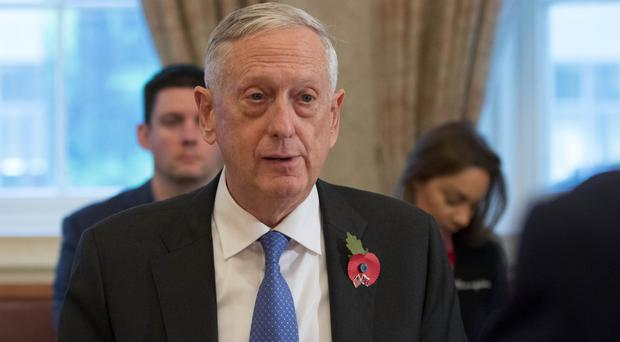 Jim Mattis during a bilateral meeting with Defence Secretary Gavin Williamson at the Ministry of Defence in London (Rick Findler/PA)