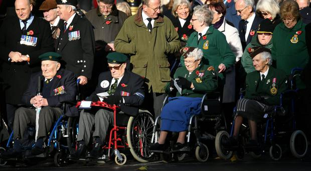 Veterans gather for the annual Remembrance Sunday Service at the Cenotaph memorial in Whitehall (Dominic Lipinski/PA)