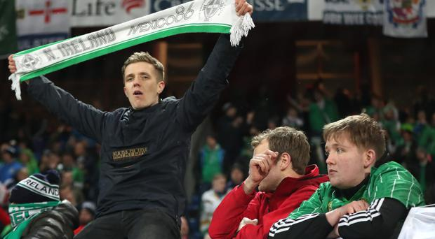 Northern Ireland's fans praised their side after falling short in the bid to reach the 2018 World Cup (Niall Carson/PA)
