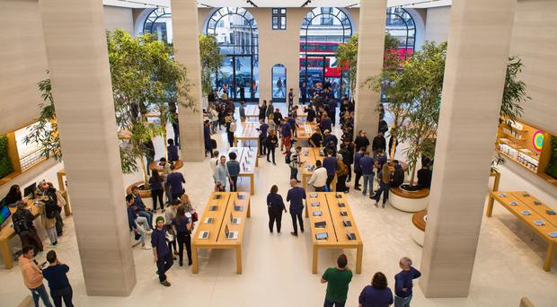 Police were called to reports of an aggravated burglary at the tech giant's flagship store
