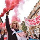 Students take part in a protest against tuition fees near Holborn, London (Dominic Lipinski/PA)
