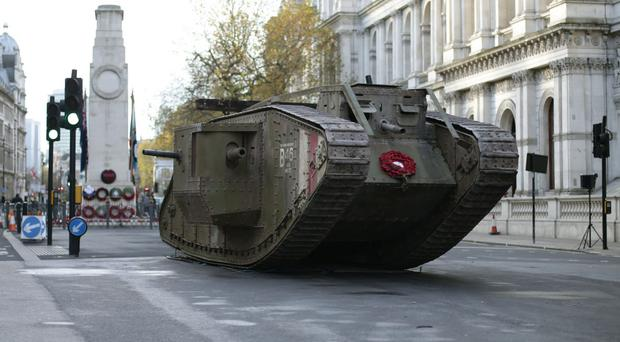 A replica First World War Mk IV tank at the Cenotaph in central London (Yui Mok/PA)