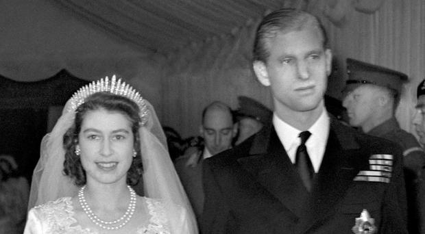 Then-Princess Elizabeth and the Duke of Edinburgh leaving Westminster Abbey after their wedding ceremony