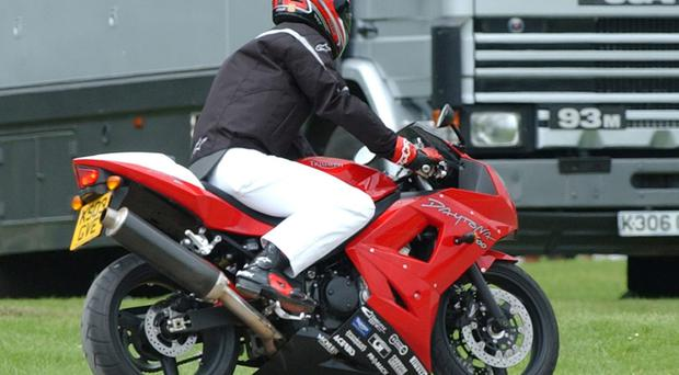 Prince William on his Triumph Daytona 600 (Barry Batchelor/PA Archive/PA Images)
