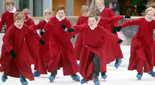 Choirboys take to the ice (Steve Parsons/PA)