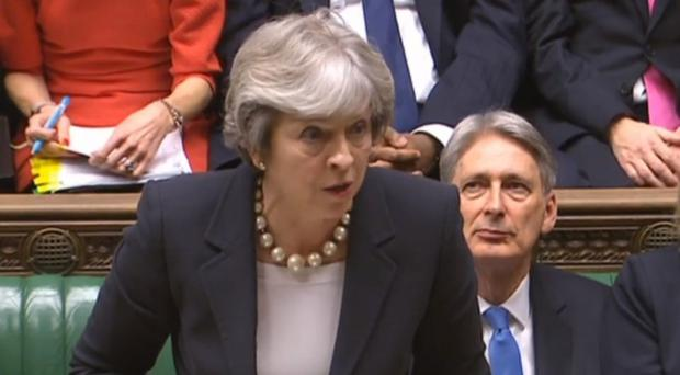 Theresa May during Prime Minister's Questions (PA)