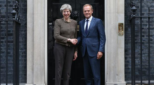Theresa May is due to meet Donald Tusk in Brussels (Jonathan Brady/PA)