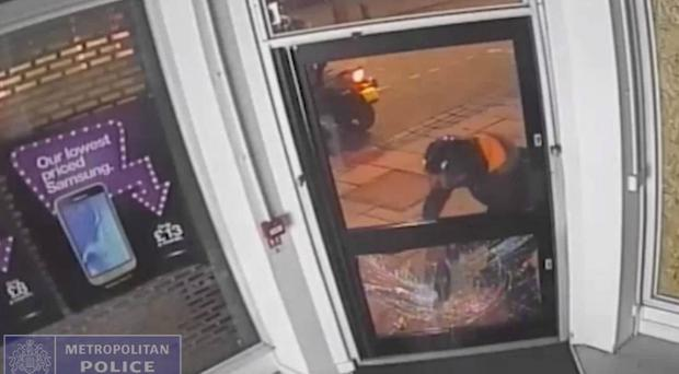 CCTV footage of the moped gang during the raid on the 3 store in High Street, Walthamstow (Metropolitan Police/PA)