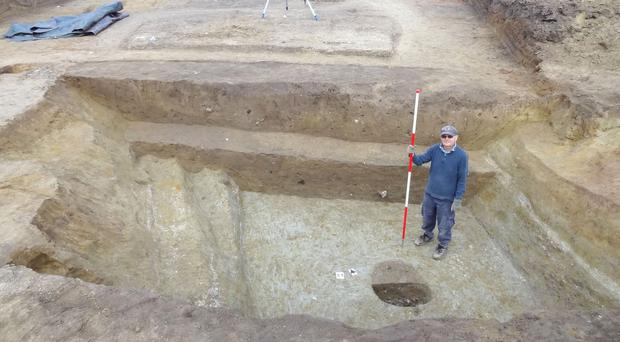 The defensive ditch at Ebbsfleet found during the University of Leicester's excavation in 2016 (University of Leicester/AP)