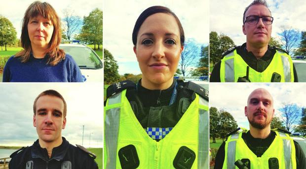 Retired Pc Kirsteen McArthur, top left, Pc Carolyn Wright, centre, Pc Andy Sawers, top right, Pc David Ritchie, bottom left, and Pc Calum McDougall (Handout/PA)