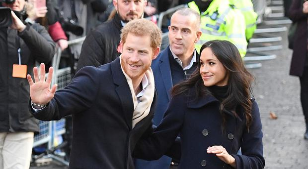 Harry and Meghan in Nottingham (Victoria Jones/PA)