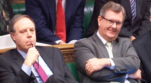 DUP MPs Nigel Dodds, Sir Jeffrey Donaldson and Gregory Campbell in the Commons yesterday