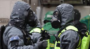 Members of the police, fire brigade and ambulance service during a joint training exercise (Yui Mok/PA)