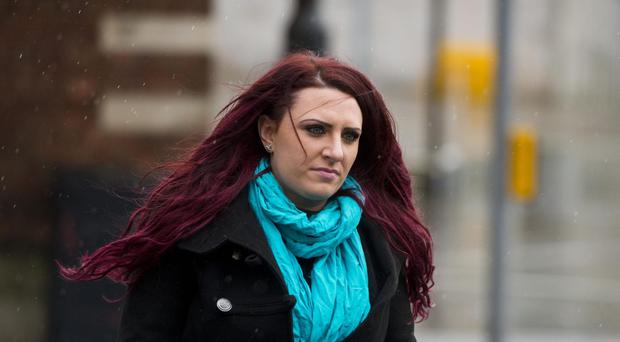 Jayda Fransen arriving for her appearance at Belfast Laganside courts (Mark Marlow/PA)