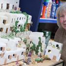 Lynn Nolan spent six months creating a nativity scene made entirely out of fruit cake, (Aaron Chown/P)A