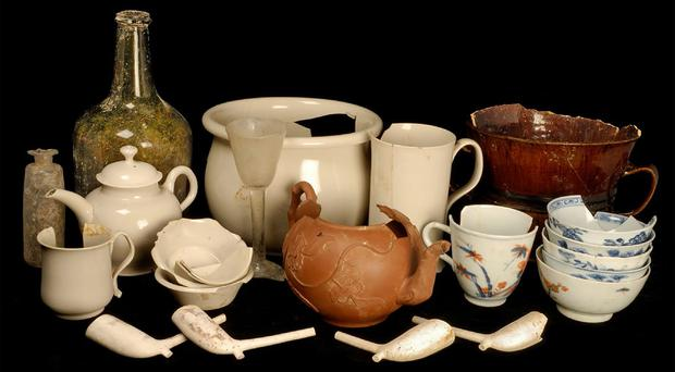 Artefacts from the 18th century Clapham's Coffee House (Cambridge Archaeological Unit/PA)