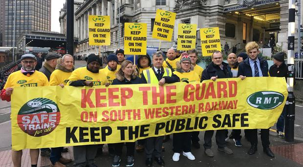 Rail workers on strike as debate continues over e-balloting for industrial action (RMT/PA)