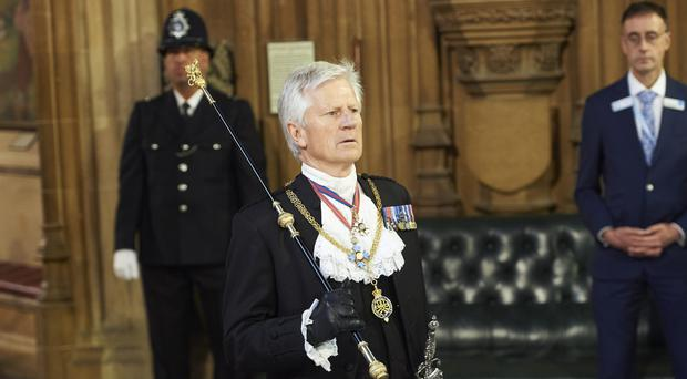 Gentleman Usher of the Black Rod, David Leakey walks across the Central Lobby of the Palace of Westminster (PA)