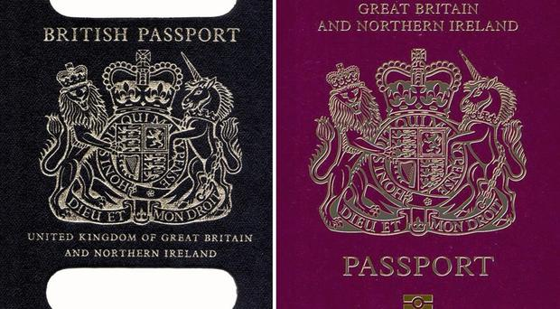 An old British passport (left) and a burgundy UK passport (PA)