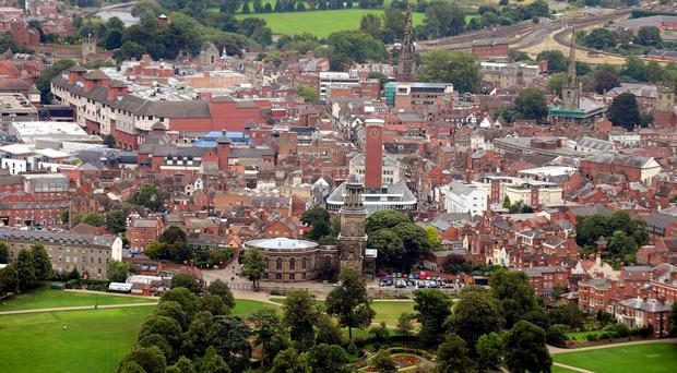 A general view of Shrewsbury Town centre, Shropshire