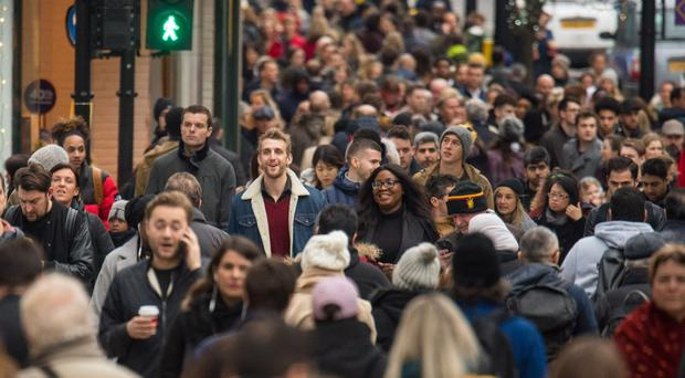 The scene on Oxford Street on the final Saturday before Christmas (Dominic Lipinski/PA)